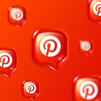 Bannière de fond d'icônes pinterest flottant sur les médias sociaux