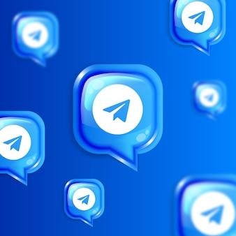 Bannière de fond d'icônes de télégramme flottant de médias sociaux