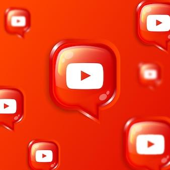 Bannière de fond d'icônes youtube flottantes de médias sociaux