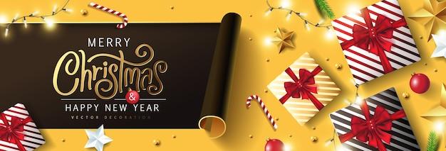 Bannière de fond joyeux noël et bonne année. texte de noël lettrage calligraphique.