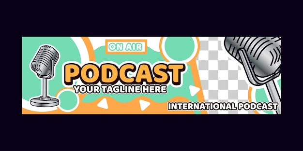 Bannière de fond de podcast avec des logos