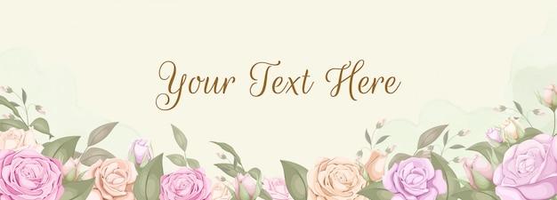 Bannière de fond de toile de fond floral avec des roses