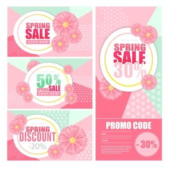 Bannière de fond de vente de printemps avec une belle fleur colorée. illustration vectorielle.