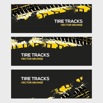 Bannière de fond de voiture de saleté de pneu de course de rallye grunge. illustration vectorielle de véhicule tout-terrain roue camion.