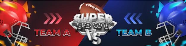 Bannière de football américain du super bowl contre vs