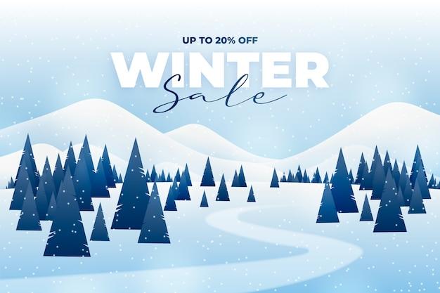 Bannière de forêt de vente d'hiver