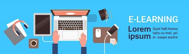 Bannière de formation en ligne elearning avec la main de l'étudiant travaillant sur un ordinateur portable