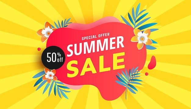 Bannière de forme de bulle de vente d'été pour l'affiche de réseaux sociaux