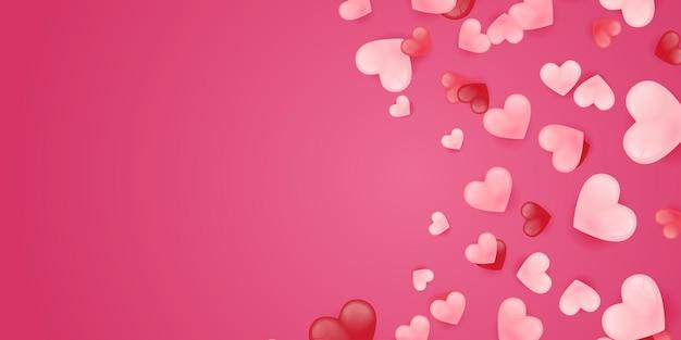 Bannière de forme de coeurs découpés en papier 3d