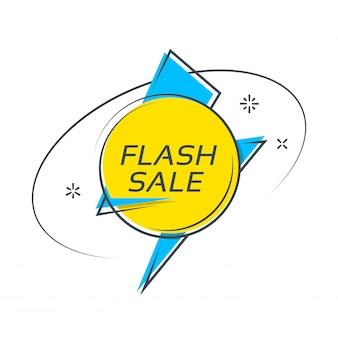 Bannière de forme flash style plat, étiquette de prix, vente, autocollant, badge.
