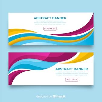 Bannière de formes abstraites ondulées