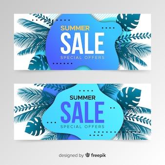 Bannière de formes de vente d'été et feuilles tropicales