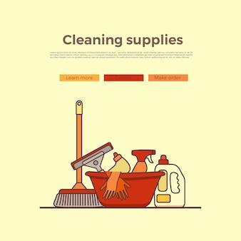 Bannière de fournitures de nettoyage ménager avec des éléments définis dans un style plat de contour. modèle de page de dessin animé de vecteur d'outils de lavage
