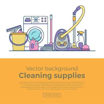 Bannière de fournitures de nettoyage ménager avec des éléments définis dans un style plat de contour.