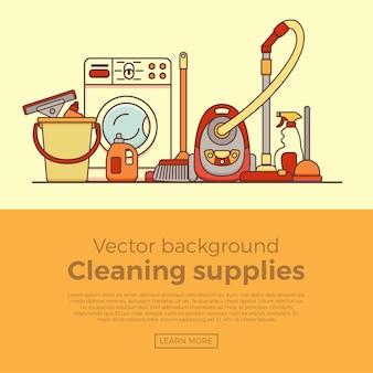 Bannière De Fournitures De Nettoyage Ménager Avec Des éléments Définis Dans Un Style Plat De Contour. Vecteur Premium