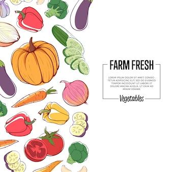 Bannière frais de la ferme avec des légumes mûrs