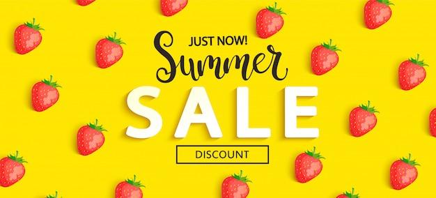 Bannière de fraise vente d'été sur jaune