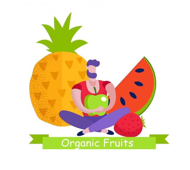 Bannière de fruits biologiques, choix d'aliments écologiques naturels