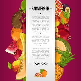 Bannière de fruits biologiques frais