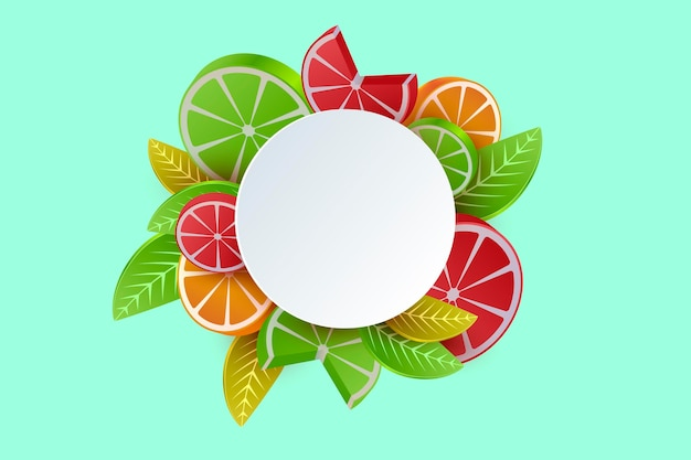 Bannière avec des fruits citriques en 3d