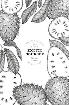 Bannière de fruits corossol style croquis dessinés à la main