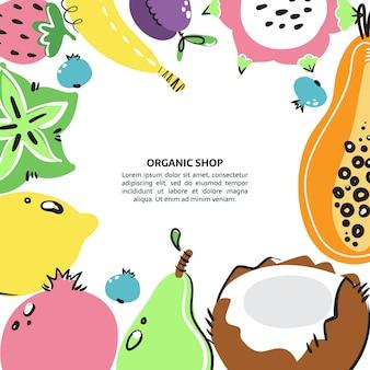 Bannière de fruits dessinés à la main. repas, régime, nutrition ou mode de vie sains.