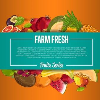 Bannière de fruits frais de la ferme