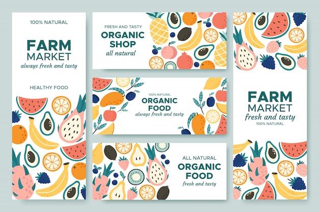 Bannière de fruits. fruits d'été, menu d'aliments biologiques et jeu d'illustration de bannières d'ananas frais