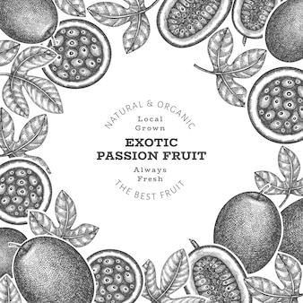 Bannière de fruits de la passion de style croquis dessinés à la main. illustration de fruits frais biologiques. modèle de fruits exotiques rétro