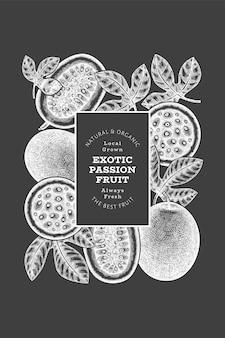 Bannière de fruits de la passion de style croquis dessinés à la main. illustration vectorielle de fruits frais biologiques à bord de la craie. modèle de conception de maracuya exotique rétro