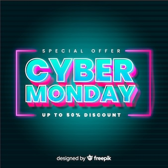 Bannière futuriste cyber cyber lundi