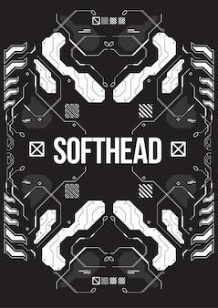 Bannière futuriste de cyberpunk avec des éléments de style décoratif.