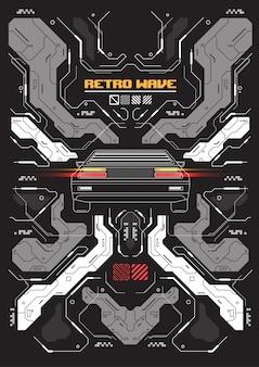 Bannière futuriste cyberpunk avec voiture rétro abstraite.