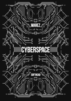 Bannière futuriste de cyberpunk.