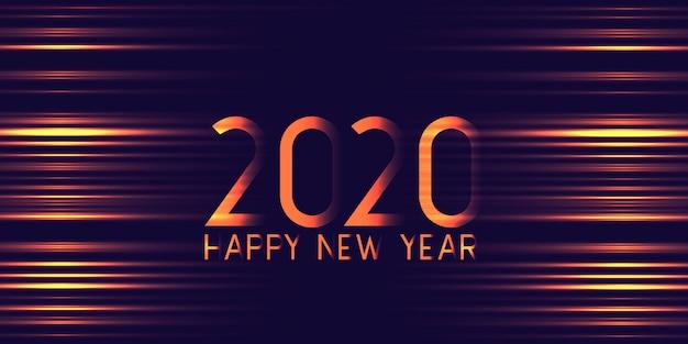 Bannière futuriste rougeoyante bonne année