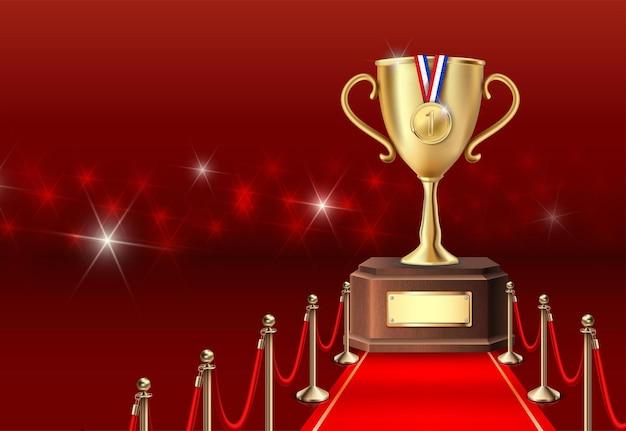 Bannière gagnante avec trophée d'or