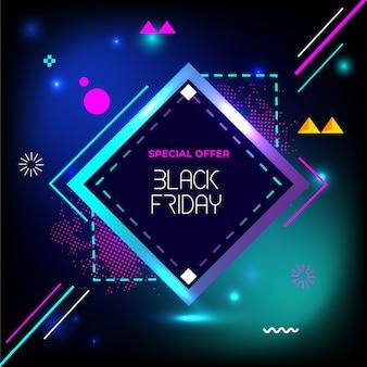 Bannière de géométrie créative vendredi noir vente flash spécial