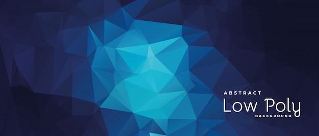 Bannière géométrique abstraite low poly bleu et foncé