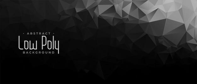 Bannière géométrique abstraite low poly noir et foncé