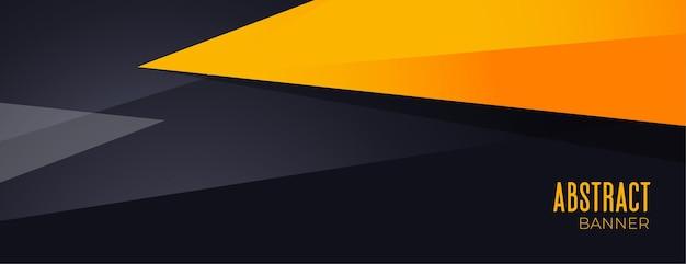 Bannière géométrique abstraite noir et jaune