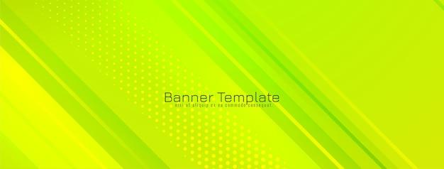 Bannière géométrique de conception de rayures modernes vertes douces