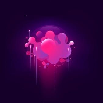 Bannière géométrique de couleur rose liquide