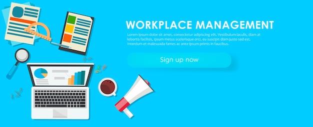 Bannière de gestion de lieu de travail. bureau de travail, ordinateur portable, café.