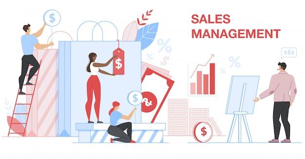 Bannière de gestion des ventes. statistique financière.
