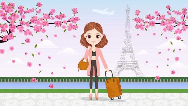 Bannière girl travel to paris