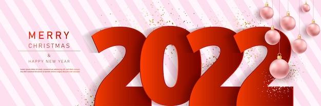 Bannière glam noël et bonne année avec des ballons 2022
