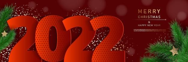 Bannière glam noël et bonne année avec des branches de sapin 2022