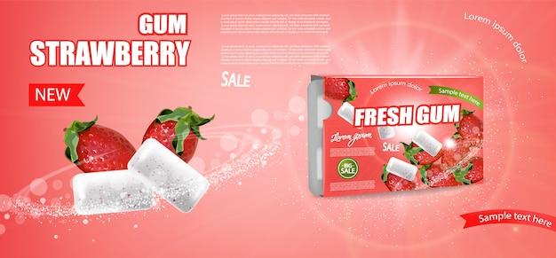 Bannière de gomme fraise