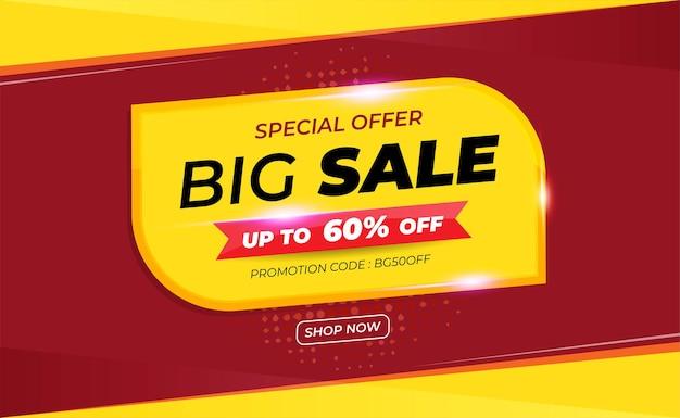 Bannière de grande vente avec code promotionnel