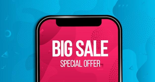 Bannière de grande vente, fond, offre de téléphone à prix réduit.